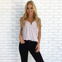 Over The Moon Wrap Blouse in Lilac