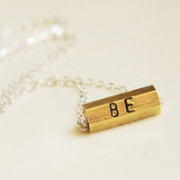 Personalized Vintage Brass Hexagon Necklace by RiverValleyJewelry