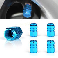 Universal Aluminum Alloy Car Tyre Air Valve Caps Bicycle Tire Valve Cap Car Wheel Styling Round Blue Silver Balck EA10675