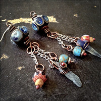 Bohemian lampwork and raw stone earrings with Czech glass beads and blue kyanite
