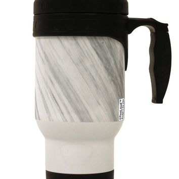 White Marble Pattern Stainless Steel 14oz Travel Mug All Over Print by TooLoud