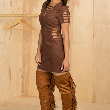 Chocolate Suede Caged Dress- FINAL SALE