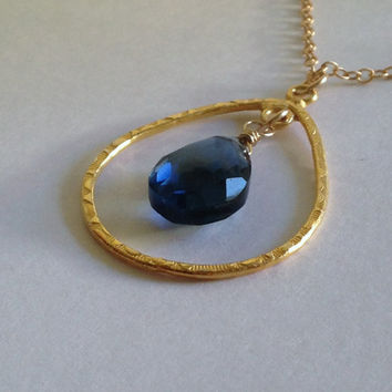"""Luxe London Blue Quartz """"Unity"""" Hammered Gold Ring Necklace Pendant"""