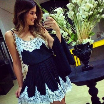 2015 New Summer Casual Clothing Dress Fashion Stylish Women's Fashion Ladies flower Gown Evening Cocktail Party Sleeveless Dresses Lace Mini Dress = 1945889476
