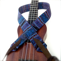 Aztec Blue Ukulele Strap with Adjustable Ends and Tie Lace