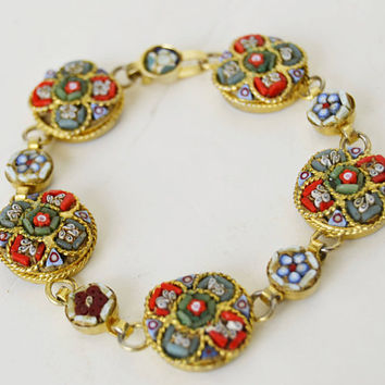 micro mosaic bracelet, made in italy, woman gift, bracelet with multicolored flowers, micro mosaic jewelry