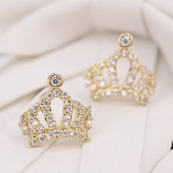 MagicPieces Micropave Setting of AAA Quality White Clear CZ Stones Pin Earrings You are My Princess 18K Gold Plated Gift for Her JDP0516