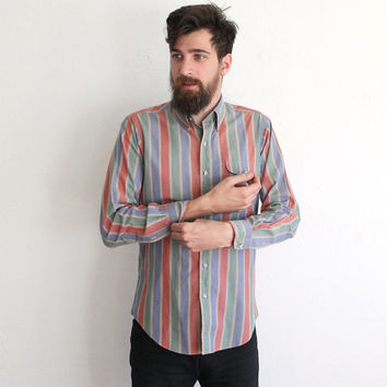 Vintage 80s Men's Muted Bold Striped Long Sleeve Button Up Shirt
