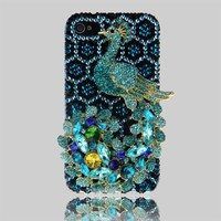 Handmade Luxury 3D Sky Blue Peacock leopard print Full Rhinestone Crystal Bling Case Cover for Iphone 5 5S