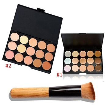 LMF57D 15 Color Fashion Women Professional Makeup Cosmetic Contour Concealer Palette Make Up+Concealer Brush HB88