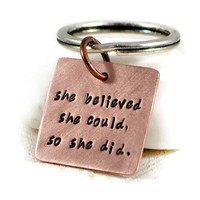 She Believed She Could So She Did. Personalized Keyring. Womens Keychain. Inspiration Birthday Gift. Graduation Gift For Her. Custom Gift. Gift For Women • DuoStef • Tictail