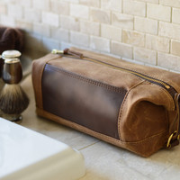 NO. 321 Personalized Expandable Dopp Kit, Brown Waxed Canvas and Leather