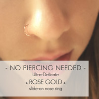 14k Rose Goldfilled Fake Nose Ring - Delicate Rose Gold Faux Nose Ring - Small Fake Nose Hoop - Rose Gold Filled Non Pierced Ring