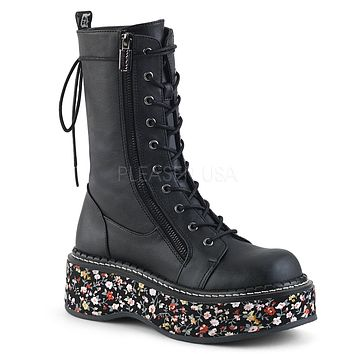 Emily 350 Goth Black Matte Ankle Boot Floral Flat-form  6-12