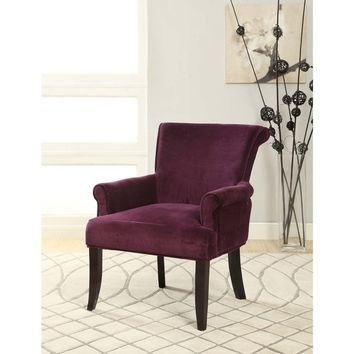 Linon Calla Dark Purple Fabric Accent Chair | Overstock.com Shopping - The Best Deals on Living Room Chairs