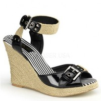 Black Patent Faux Leather Buckle Detail Woven Canvas Wedges @ Wowpink Wedges Shoes Store:Wedge Shoes,Wedge Boots,Wedge Heels,Wedge Sandals,Dress Shoes,Summer Shoes,Spring Shoes,Prom Shoes,Women's Wedge Shoes,Wedge Platforms Shoes,floral wedges,Fashion Wed