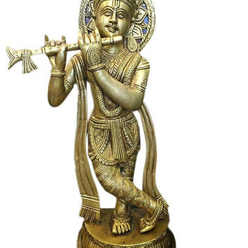 Indian Hindu Vintage Brass Krishna Statue Standing Krishna Idol Playing the Flute Decorative Decor