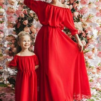 Red Draped Off Shoulder Ruched Bridesmaid High Waisted Sweet Elegant Party Maxi Dress