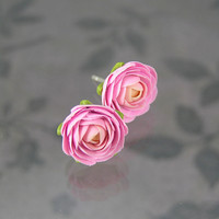 Pink polymer clay stud earrings - polymer clay jewelry - post earrings - floral earrings
