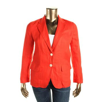 Lauren Ralph Lauren Womens Linen Button Closure Two-Button Blazer