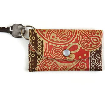 Keychain Wallet & ID Holder, Orange Paisley and Brown