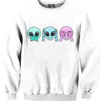 Hear No Evil See No Evil Speak No Evil Aliens Monkey Sweatshirt Sweater ladies fashion 001 tqi