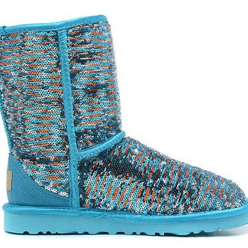 LFMON UGG 1002978 Flipped Over Sparkles Women Fashion Casual Wool Winter Snow Boots Green
