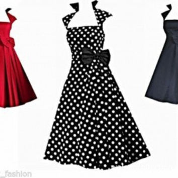 Fre Shipping  Cap Sleeve High Collar 40s 50s Rockabilly Vintage Swing Party Dress size s-6xl