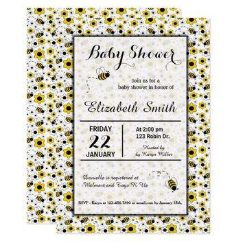 Bee Girl Baby Shower or Birthday Party Invitation