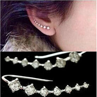 High Quality Fashion Elegant Chic New Silvery Golden Rhinestone Crystal Ear Cuff Piercing Clip Earrings Jewelry For Women Gift