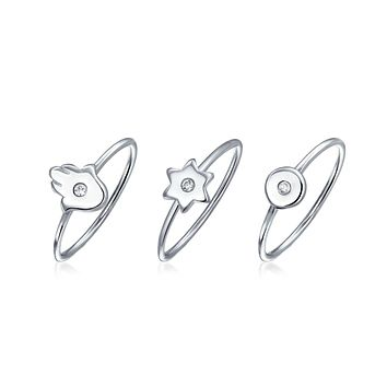 CZ Sterling Silver Midi Knuckle Star Hamsa Hand Ring 1MM Band