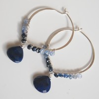 Gemstone Hoop Earrings -Dark Blue .. on Luulla