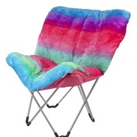 Rainbow Faux Fur Butterfly Chair