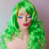 Halloween Special :))  Lime Green wig. Long curly Lime green hair with color highlights wig.