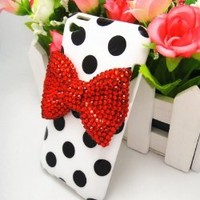 OOOUSE White Cute 3D Bling Red Bow Dot Pattern Case Cover for Apple Ipod Touch 4g 4 4th Gen