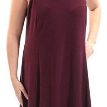 Maison Jules 79 Womens New 1406 Burgundy Sleeveless Shift Dress L B+B