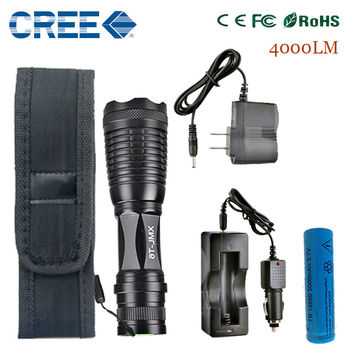 zk20 LED flashlight Focus lamp LED torch e17 CREE XM-L T6 4000 Lumens Zoomable lights + AC/Car Charger + 18650 5000mAh battery