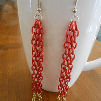 SALE 4 inch long Red and Gold chain Chandelier Earrings