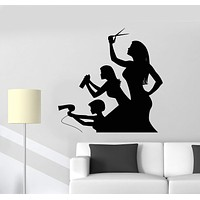 Wall Decal Funny Hairdressers Beauty Salon Hair Stylist Vinyl Stickers Unique Gift (ig2923)