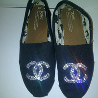 Chanel Swarovski Rhinestone toms CC logo send your toms Shoes Flats