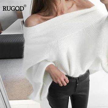 RUGOD 2018 New Arrivals Sexy Loose Slash Neck Simple Women Flare Sleeve Pullover Off-the-shoulder Mink Cashmere Female Sweater