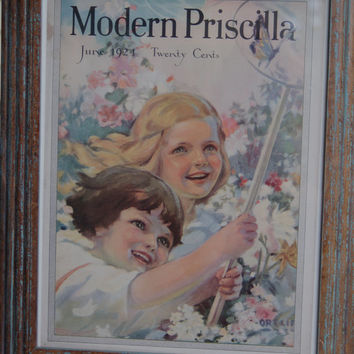 Framed Magazine Cover, Modern Priscilla June 1924 Magazine Cover of Girls Catching Butterflies, Vintage Bon Ami Advertisement, Ortlip