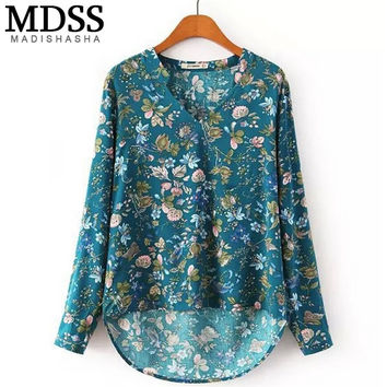 Women Clothing Fashion Loose Floral Print V Neck Women Tops Long Sleeve Casual Vintage Blouses Shirts Female Blusas MA00084