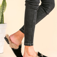 Black Velvet Fur Lined Loafer Slippers | MakeMeChic.COM