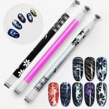 1pc Double Head Cat Eye Magnet Stick for Gel Polish Varnish 3D Line Strip Strong Effect Stick Magical Board Nail Art Tools New