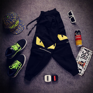 Sportswear Casual Pants Embroidery Zippers Capri [6541168643]