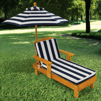 KidKraft Outdoor Chaise with Umbrella, Navy Stripe Fabric