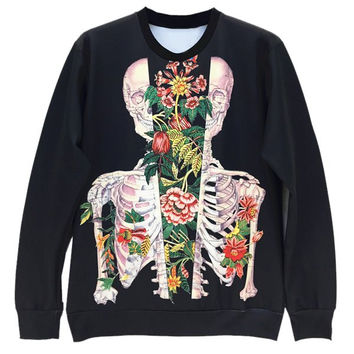 3D Flower and Skull Print Long Sleeve Mens Sweatshirt