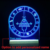 NEW - Personalized name Gravity Falls lamp, Bill secrets map led night light Lamp, Sign Decor , Bill cipher wheel