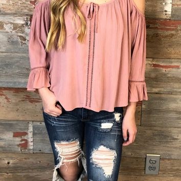 Gathering Glances Cold Shoulder Top
